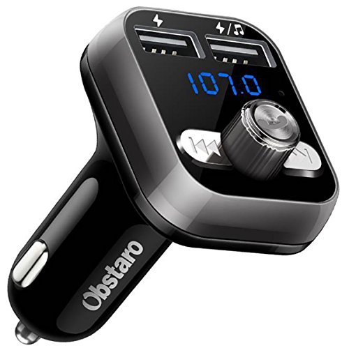 OBSTARO FM Transmitter, Bluetooth Fm Transmitter for car, Wireless in-car Bluetooth Receiver MP3 Player Stereo Radio Adapter car kit with Dual USB Ports ,Hands Free for iPhone, Ipad,Smartphones