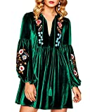 Aofur Women Bohemian Vintage Embroidered Velvet Spring Shift Mini Dress Long Sleeve Casual Tops Blouse (Large, Green)