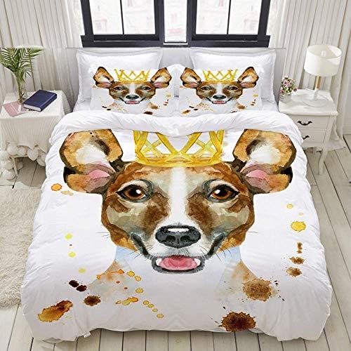Nonun Duvet Cover Set, Watercolor Portrait Jack Russell Terrier Golden, Colorful Decorative 3 Piece Bedding Set with 2 Pillow Shams