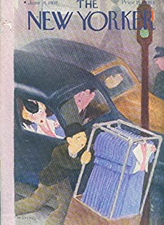 New Yorker cover W Cotton lady in car sees her dress on garment rack 6/4 1938