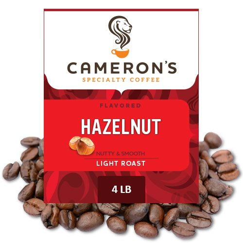 Cameron's Coffee Roasted Whole Bean Coffee, Flavored, Hazelnut, 4 Pound