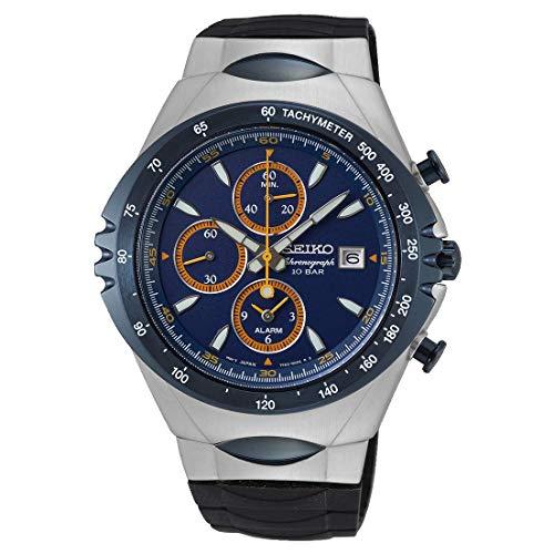 Seiko Chronograph Herren-Uhr Edelstahl mit Silikonband SNAF85P1