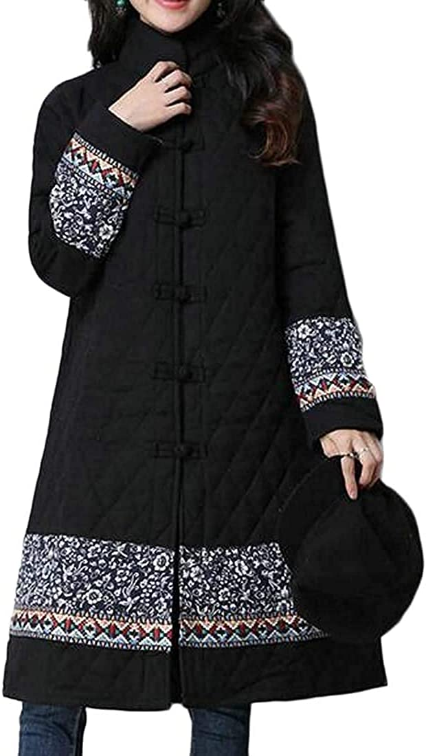 Women Mid Length Ethnic Print Winter Thick Cotton Linen Quilted Jacket Coat Outerwear