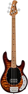 Sterling By MusicMan 4 String Bass Guitar, Right, Quilted Maple, Island Burst (RAY34QM-ILB-M2)