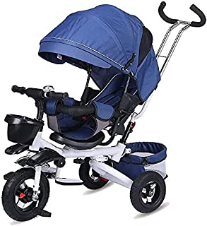 Tricycle folding child tricycle baby bicycle can lay infant stroller stroller (Color : Blue) JB-Tong