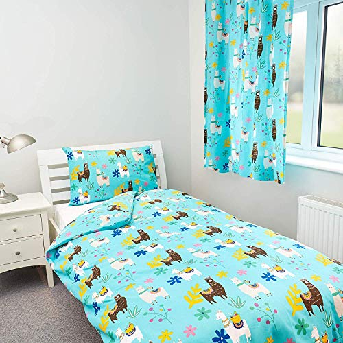 Zappi Co Llama Design Bedding Set Childrens Girls Boys Reversible Single Bed Duvet Cover and Matching Pillowcase
