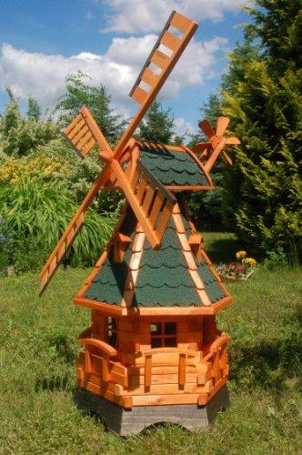Deko-Shop-Hannusch Moulin à vent décoratif en bois enduit avec roulement à billes 1,25 m vert