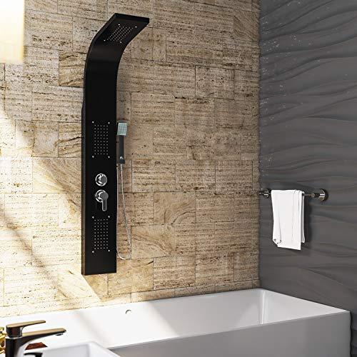 OIMEX CALM Duschpaneel Duschgarnitur Duschsystem Duschsäule Wasserfall Regendusche, Schwarz