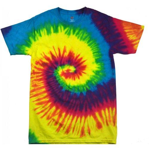 Colortone- Camiseta psicodélica gruesa de manga corta con arcoiris para chica/mujer