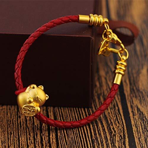 wangk Recién Llegado, Pulsera de Oro Amarillo Real de 24K, Regalo para Mujer, Amuleto de Gato de la Suerte 3D con Pulsera de Cuero Rojo SmallcatBracelet