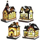 Weihnachtsdorf Mit Beleuchtung, Weihnachtslaterne Led, Weihnachtsdeko Amerikanisch Lichterkette Weihnachten Basteln Batteriebetrieben (4pc Set, 4 * 6.5 * 9cm)