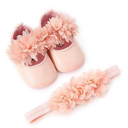 HWTOP Lauflernschuhe + Hairband Baby Mädchen Blume Freizeitschuhe Sneaker Anti-Rutsch-weiche Schuh Sohle Kleinkind Flache Bequeme Schuhe