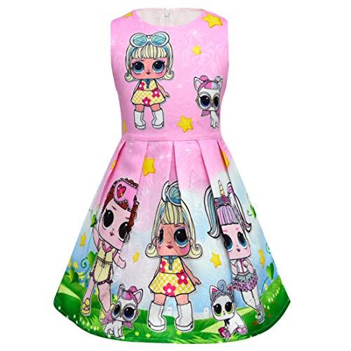 Dgfstm Babys Schöne Überraschung Puppen & Haustiere Abendgesellschaft Prinzessin Ärmellose Kleider (Pink, 130)