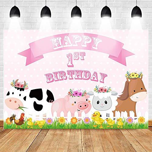 Banner sullo sfondo Fattoria tema buon primo compleanno foto animale festa di compleanno decorazione puntello rosa polka dot maiale mucca Banner Di Sfondo Per Il Matrimonio Carta Di Sfondo P