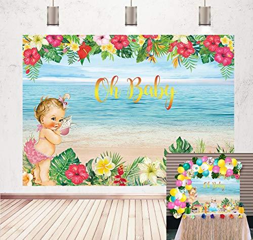 DANIU Little Princess Telón de fondo para Baby Shower Tropical Beach oh Baby Flower Theme Fotografía de fondo Niños Niña Fiesta de cumpleaños Decoración Photo Booth Props