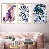 Póster de pared impreso en lienzo impresión de moda arte color pluma sofá fondo pintura decorativa sala de estar 50x70cm / 19.7'x27.6' sin marco