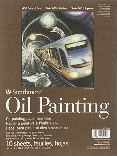 "Strathmore (430-309) 400 Series Oil Painting Pad, 9"" x 12"", Natural White, 10 Sheets"