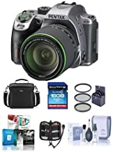 Pentax K-70 24MP Full HD DLR Camera with SMC DA 18-135mm f/3.5-5.6 ED AL DC WR Lens, Silver - Bundle with 16GB SDHC Card, Camera Bag, 62mm Filter Kit, Cleaning Kit, Memory Wallet, Software Package