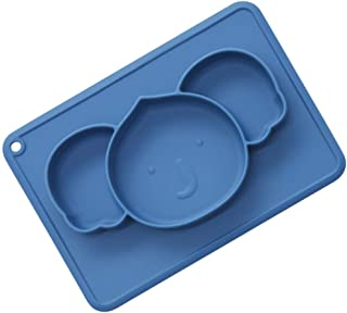 STOBOK Suction Bowls For Toddlers Koala Shaped Silicone Plate Self Feeding Training Divided Bowl Dish For Baby Kids (Blue)