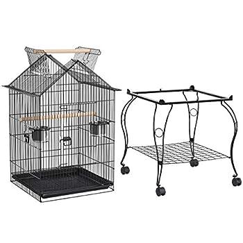 Yaheetech Cage Oiseaux avec Toit Ouvrable/Support Détachable/sur roulettes Verrouillable pour Perruches Canaris Calopsitte Inséparable Petit Mandarin