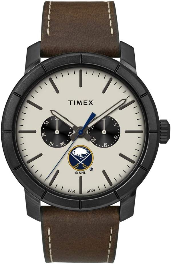 Timex Men's Buffalo Sabres Max 46% OFF Leather Easy-to-use Team Home Watch