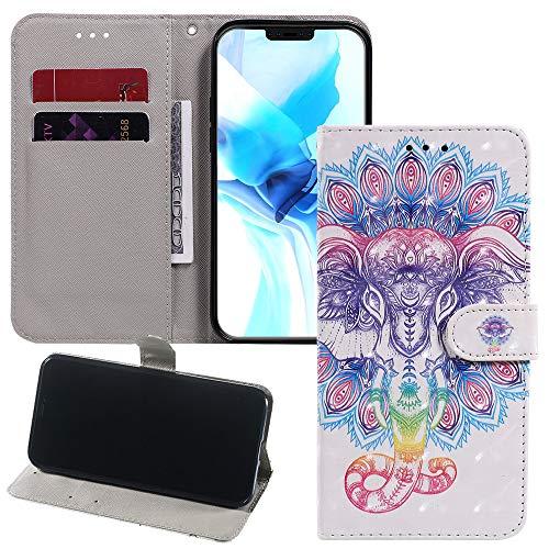 Capa carteira XYX para Samsung J7 2017/J7 V/J7 Prime/J7 Perx/J7 Sky Pro, capa flip de couro sintético pintado 3D (elefante)