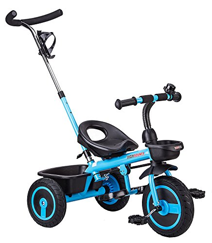High Bounce Kids Tricycle - Kids Trike with Foot Rest, Pedals, Adjustable Seat and Push Handle for Toddlers (Light Blue with Push Handle)