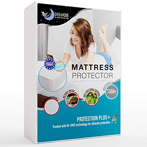 Dreamzie - Waterproof Mattress Protector Single 90 x 190 / 3ft x 6ft 3' - Fabric 100% Cotton - 11' Deep Pocket - Breathable, Hypoallergenic, Anti-Mite, Anti-Mold - OEKO TEX - 15 Year Warranty
