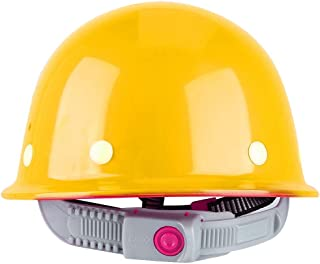 Safety Hard Hat, ABS Adjustable Breathable Safety Hard Helmet Protective Hat Cap for Construction Site(Yellow-Yellow)