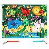 vincente Laberinto magnético de juguete con bolas de madera, laberinto magnético para niños, regalo