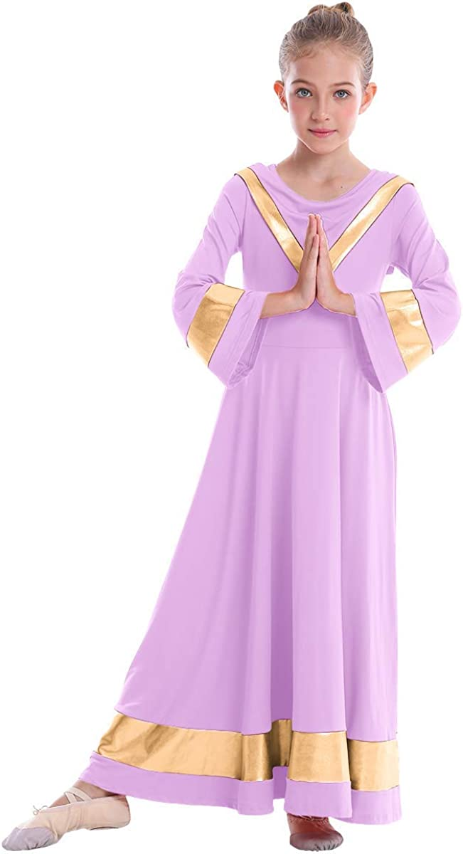 IBAKOM Kids Girls V-Neck Worship Free shipping on posting reviews Praise Dance Robe El Paso Mall Dr Liturgical