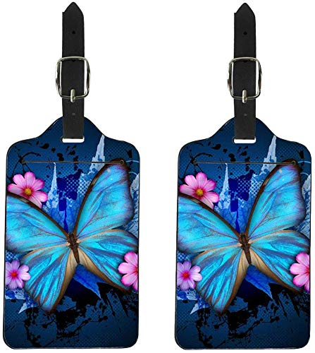 NDISTIN Blue Butterfly Travel Leather Luggage Tags for Women Girls Business Suitcase ID Label Card Holder Cover Set of 2