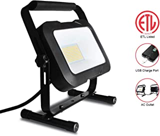 ETL Listed 5500 Lumen LED Work Light with USB Charge Port and AC Outlet, Waterproof IP65 Job Site Light, 3.8 M/12.5 Inch Power Cord, 360° Adjustable, 4000K White