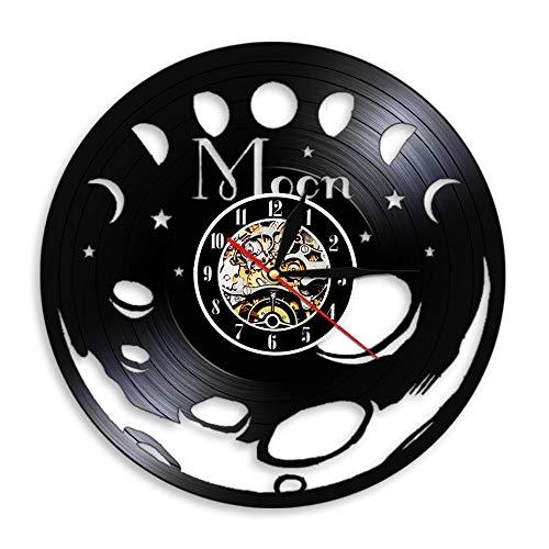 Eld Fase de la Luna Disco de Vinilo Vintage Arte de la Pared Dormitorio Reloj de Pared silencioso Espacio Luna Decoración del hogar Reloj de Pared de Fase Lunar Celestial Reloj de Pared Musical