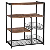 VASAGLE Baker's Rack, Kitchen Island with 2 Metal Mesh Baskets, Shelves and Hooks, 80 x 35 x 95 cm, Industrial Style, Rustic Brown KKS96X