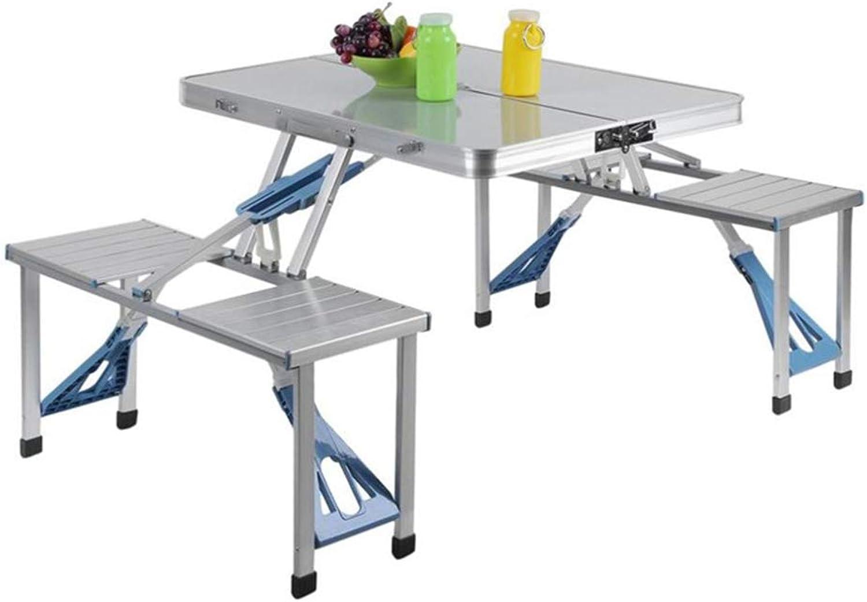 4-Personen-Klapp-Picknicktisch mit 4 Aluminiumstühlen, tragbar und leicht, für Outdoor, Camping, Picknick, BBQ, Party und Dining