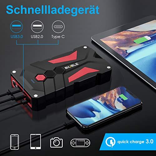 BIUBLE - Avviatore di avviamento portatile per auto, 12800 mAh, 12 V, corrente di picco 1000 A, con luce a LED e uscita QC3.0 per smartphone