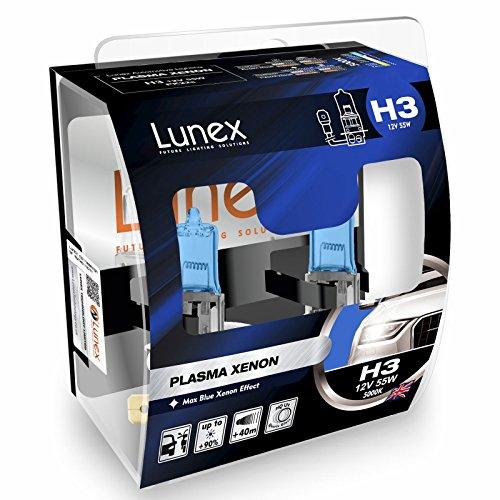 LUNEX H3 PLASMA XENON, Bombillas halógenas Faros Efecto Xenón 12V 55W PK22s, 5000K duobox (2 units)
