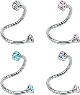 ZeSen Jewelry 4 pezzi di cristallo Orecchio spirale bilanciere Tragus orecchini in acciaio inox Cartilagine Labret penetra...