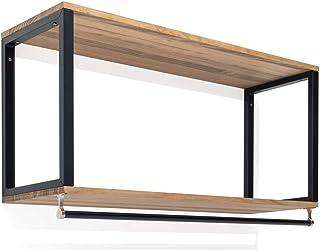 Portemanteau suspendu 2 étagères et barre noire en bois finition naturelle style nordique industriel Box Furniture