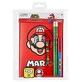 Super Mario Set Papeleria para Niños, Incluye Cuaderno A5 de Mario Bros Goma de Borrar Lapices HB Regla, Material Escolar Oficial, Regalos para Niños Adolescentes