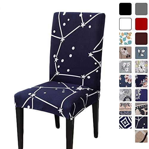 Hzdhclh Stuhlhussen, Stuhlbezüge, Schonbezug für Stühle, cremefarben, waschbar, weich für 4/6 Stück, elastische Montage, Blaues Sternmuster, 4 PCS