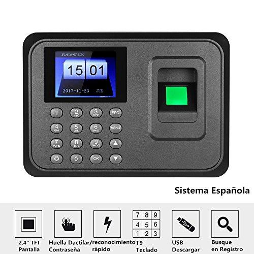 Decdeal - 2.4' TFT USB Máquina de Asistencia Biométrica de Huella Dactilar, Sistema Española, LCD Pantalla