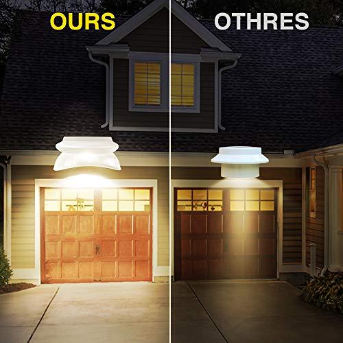 ROSHWEY LED Gutter Lights, Solar Lights Outdoor Waterproof Fence Lights for Eaves Garden Landscape Yard (Warm White, 6 Pack)