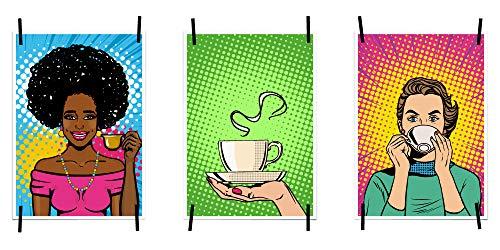 myprinti® Küchenbilder Poster Bilder für die Küche Küchenposter Kunstdrucke   Moderne Wanddeko Küche Deko   3er Set Größe DIN A4   Frau mit Kaffee, Kaffeetasse, Retro, Figuren