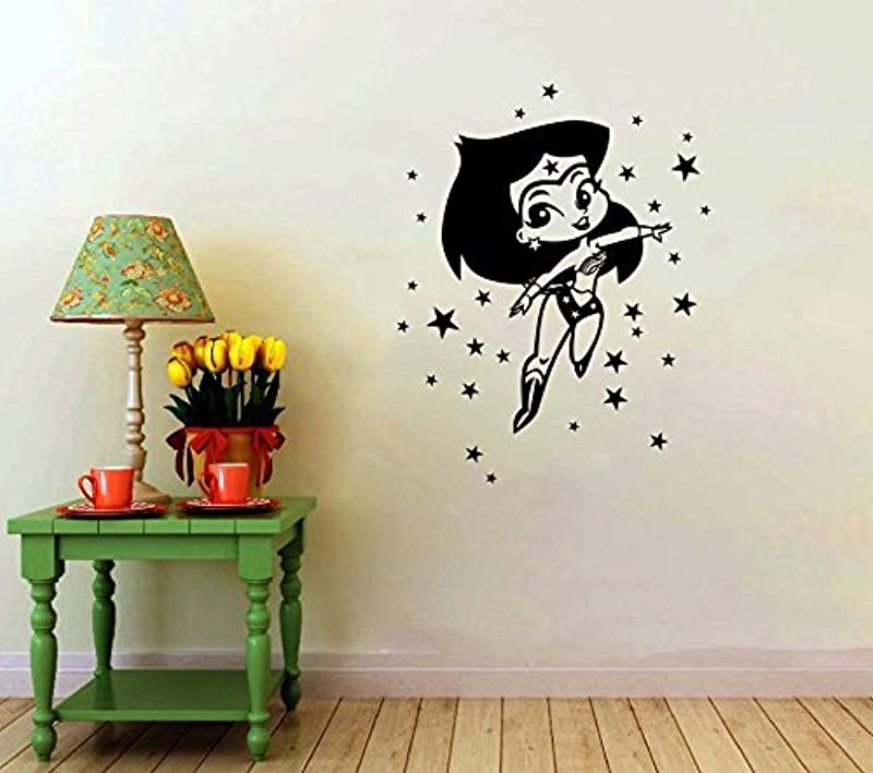 Cartoon Wonder Woman Vinyl Decal Kid S Room Animated Wall Decor Girl S Comics Decorative Stickers Art Design 6ww Shipping From USA By Kellysdesigns