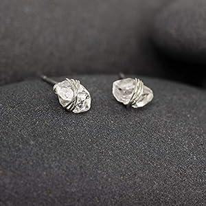 Herkimer Diamond Silver Wrapped Stud Earrings, Dainty, Minmalist