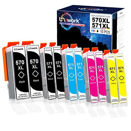 10 Druckerpatronen Uniwork Kompatibel für Canon PGI-570 XL CLI-571 XL für Canon PIXMA TS5050 MG5750 TS5055 MG6850 MG5753 MG6852 TS5051 TS6051 MG5751 MG6853 TS6050 MG5752 MG6851 TS5053 TS6052