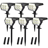 Solar Landscape Spotlights Outdoor - Whousewe IP65 Waterproof 108 LEDs Outdoor Solar Powered Spot Lights with 4 Bright Modes, Wall & Ground Mounted, Cold White, 6 Pack