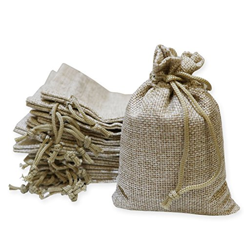 40 Pieces Burlap Bags with Drawstring, 5.4x3.7 inch Burlap Drawstring Gift Bag Jewelry Pouches for Wedding and Party Favors, DIY Craft, Presents, Christmas